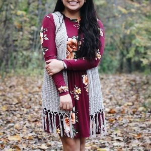 Forever 21 floral/ maroon dress